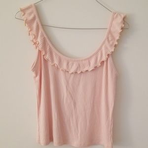 Forever 21 light pink ruffled tank top